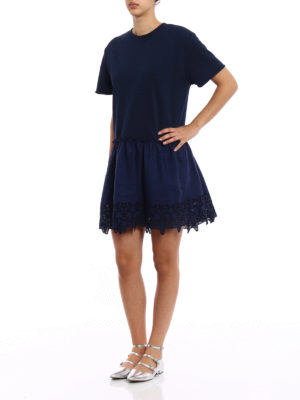 P.A.R.O.S.H.: short dresses online - Embroidered cotton loose blue dress