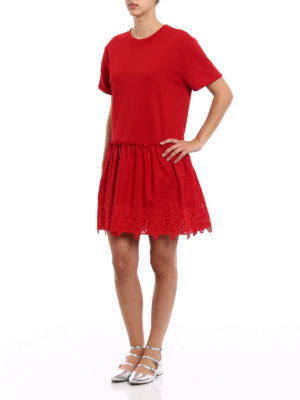 P.A.R.O.S.H.: short dresses online - Embroidered cotton loose red dress