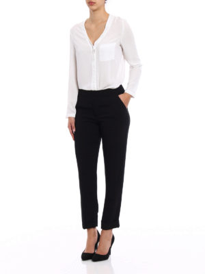 P.A.R.O.S.H.: Tailored & Formal trousers online - Pantery black cady trousers