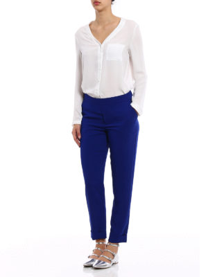 P.A.R.O.S.H.: Tailored & Formal trousers online - Pantery blue cady trousers
