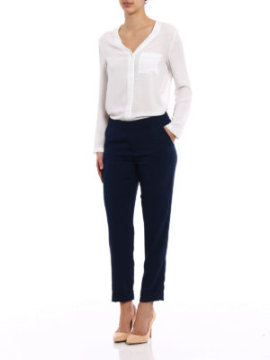 P.A.R.O.S.H.: Tailored & Formal trousers online - Pantery dark blue cady trousers