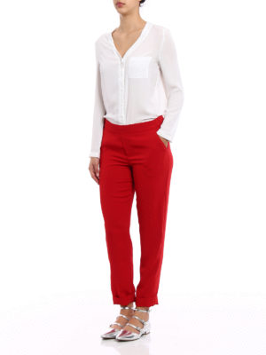 P.A.R.O.S.H.: Tailored & Formal trousers online - Pantery red cady trousers