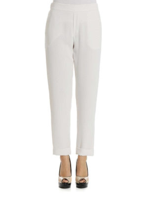 P.A.R.O.S.H.: Tailored & Formal trousers online - Pantery white cady trousers