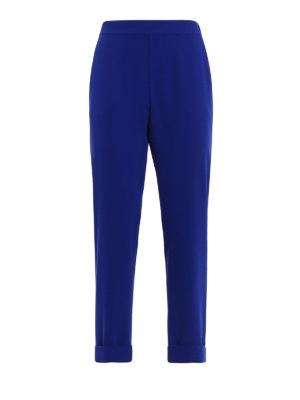 P.A.R.O.S.H.: Tailored & Formal trousers - Pantery blue cady trousers