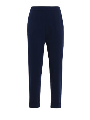 P.A.R.O.S.H.: Tailored & Formal trousers - Pantery dark blue cady trousers
