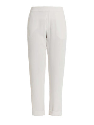 P.A.R.O.S.H.: Tailored & Formal trousers - Pantery white cady trousers
