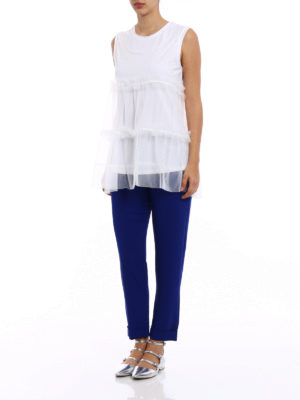 P.A.R.O.S.H.: Tops & Tank tops online - Nylfluo jersey and tulle top