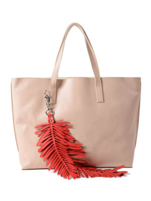 P.A.R.O.S.H.: totes bags - Coral leather tote with charm