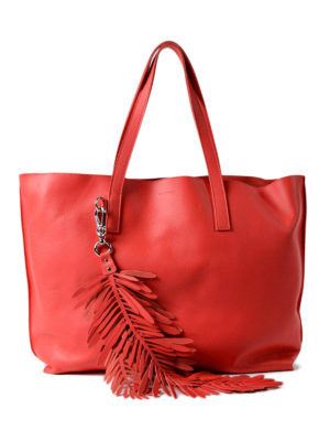 P.A.R.O.S.H.: totes bags - Coral red leather tote with charm
