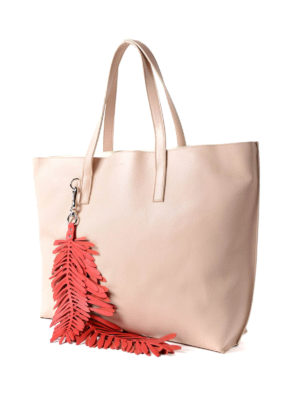 P.A.R.O.S.H.: totes bags online - Coral leather tote with charm