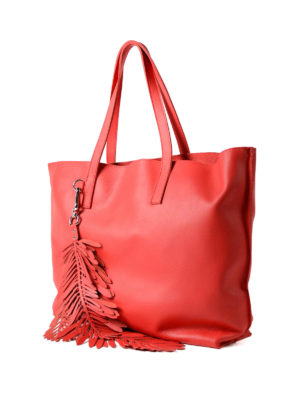 P.A.R.O.S.H.: totes bags online - Coral red leather tote with charm