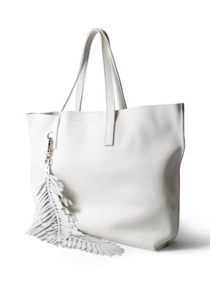 P.A.R.O.S.H.: totes bags online - Coral white leather tote with charm