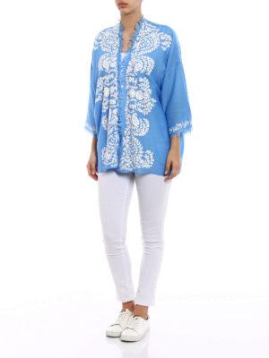 P.A.R.O.S.H.: tunics online - Open front blue cashmere tunic