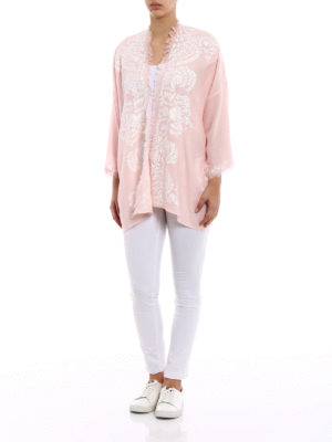 P.A.R.O.S.H.: tunics online - Open front pink cashmere tunic