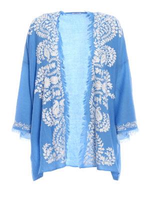 P.A.R.O.S.H.: tunics - Open front blue cashmere tunic