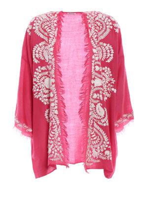 P.A.R.O.S.H.: tunics - Open front fuchsia cashmere tunic