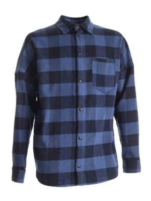 Palm Angels: shirts - Checked shirt in black and blue