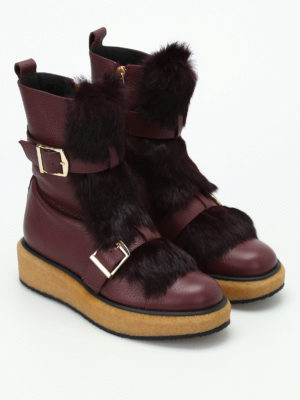 Paloma Barcelò: boots online - Ticino fur inserts leather boots