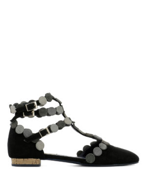 Paloma Barcelò: flat shoes - Bourgogne suede embellished flats