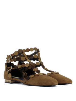 Paloma Barcelò: flat shoes online - Bourgogne suede embellished flats