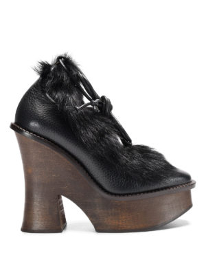 Paloma Barcelò: lace-ups shoes - Grenada leather and fur shoes