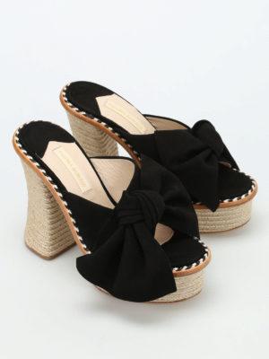 Paloma Barcelò: mules shoes online - Monaco bow detail suede mules