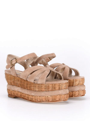 Paloma Barcelò: sandals online - Vallouise wicker wedge sandals