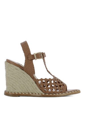 Paloma Barcelò: sandals - Woven leather wedge sandals