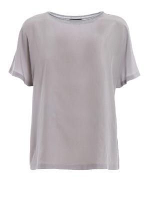 Paolo Fiorillo: bluse - Blusa in seta a maniche corte color argento