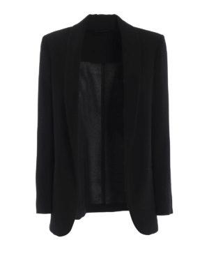Paolo Fiorillo Capri: blazers - Black crepe cady open front blazer