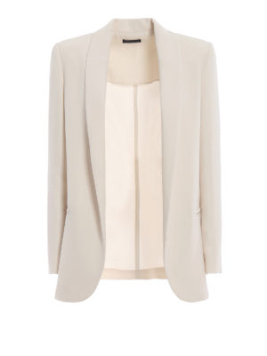 Paolo Fiorillo Capri: blazers - White crepe cady open front blazer