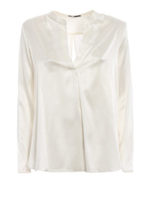 Paolo Fiorillo Capri: blouses - White stretch silk satin blouse