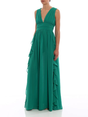 Paolo Fiorillo Capri: cocktail dresses online - Green frilled empire dress
