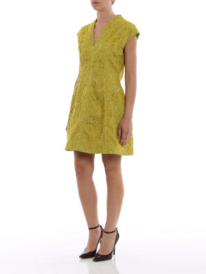 Paolo Fiorillo Capri: cocktail dresses online - Lime lace flared dress