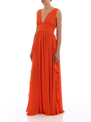 Paolo Fiorillo Capri: cocktail dresses online - Orange frilled empire dress