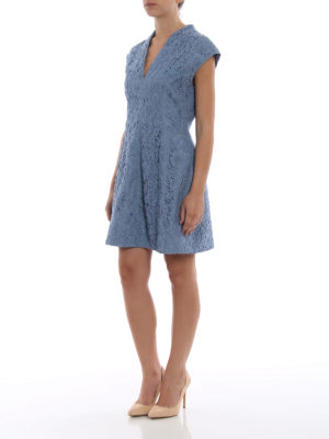 Paolo Fiorillo Capri: cocktail dresses online - Powder blue lace flared dress