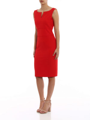 Paolo Fiorillo Capri: knee length dresses online - Red sleeveless pencil dress