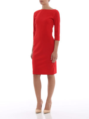 Paolo Fiorillo Capri: knee length dresses online - Red stretch crepe cady sheath dress