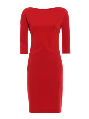 Paolo Fiorillo Capri: knee length dresses - Red stretch crepe cady sheath dress