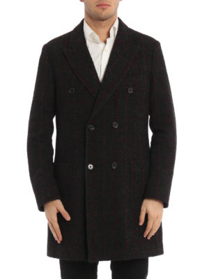 Paolo Fiorillo Capri: short coats online - Check wool double-breasted coat