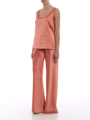 Paolo Fiorillo Capri: Tailored & Formal trousers online - Peach tone satin palazzo trousers