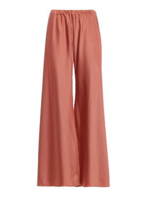 Paolo Fiorillo Capri: Tailored & Formal trousers - Peach tone satin palazzo trousers