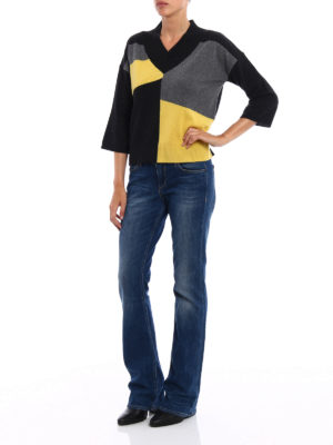 Paolo Fiorillo Capri: v necks online - Colour block wool blend sweater