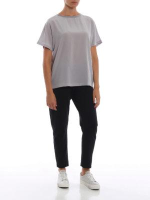 Paolo Fiorillo: bluse online - Blusa in seta a maniche corte color argento