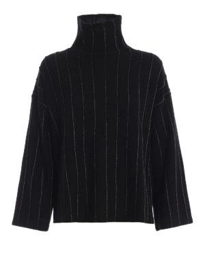 Paolo Fiorillo: maglia a collo alto e polo - Pull a scatoletta nero effetto gessato