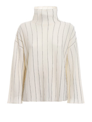 Paolo Fiorillo: maglia a collo alto e polo - Pull a scatoletta bianco effetto gessato