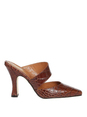 Paris Texas: mules shoes - Croco print leather mules