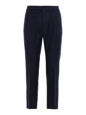Pence: casual trousers - Melange blue wool chinos