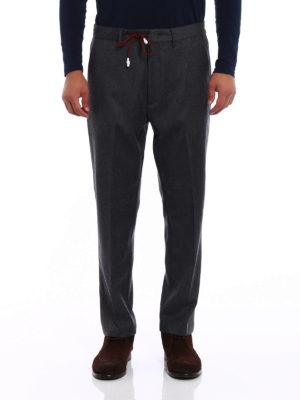 Pence: casual trousers online - Grey wool chinos with drawstring