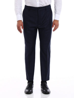 Pence: casual trousers online - Melange blue wool chinos